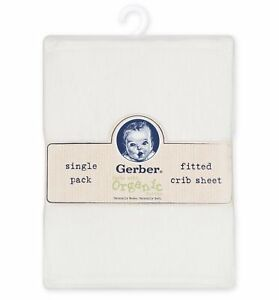 Gerber Baby Organic Cotton White Fitted Crib Sheet, Unisex Nursery Bedding