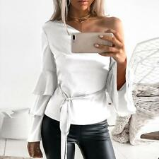 Fashion Women Autumn One Shoulder Long Lotus Sleeve Shirt Loose Lady Tops Blouse