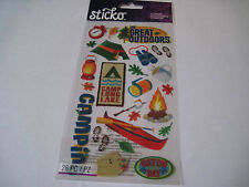 Scrapbooking Stickers Sticko Great Outdoors Camping Canoe Tent Camp Fire Lantern
