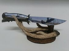 Fixed Blade Knife Rather Be Hunting Eagle & Rifle Handle & Blade w/ Antler Stand