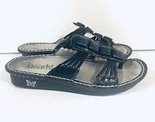 Alegria Black Leather Sandals Strappy Gemstones Womens SZ EUR 38 US 7.5 Shoes