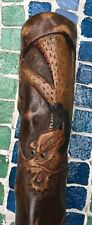 Antique Folk Art Cane Walking Stick Carved Dragon Tiger Chinese Japanese Asian