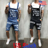 Men's Casual Cargo Suspenders Denim Overalls Jumpsuits Short Bib Pants Trousers