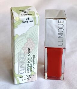 NIB $20 Clinique Pop Lacquer Lip Color Primer 03 Happy Pop Orange Gloss Lipstick