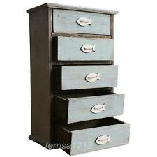Large Shabby Wood Storage Box Case Container Decorative 5 Drawers Blue Fish Home
