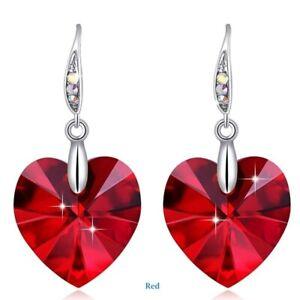 Women Silver Heart Red Crystal S Earrings Girl Dainty Jewelry Anniversary Gift