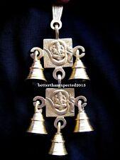 Ganesha Ganesh Om Aum Wall Hanging 5 Decorative Bells Brass Design Antique Style