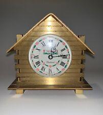 Swiss Bucherer Log Cabin Form Desk Clock