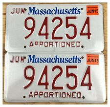 Massachusetts 2015 APPORTIONED TRUCK License Plate Pair 94254 - UNUSED!