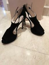Prada Women's Peep Toe Shoes Suede Black Sz 7uk