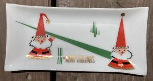 "Vintage Houze White Glass HI Merry Christmas Tray ~ 6"" X 2-3/4"" Elves trees"