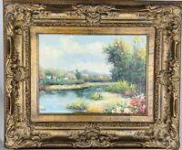 ELMER Vintage Landscape Oil on Canvas in Ornate Gilded Wood Composite Frame