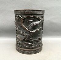 Collect fengshui old Copper bronze Carved eagle Statue pen Brush Pot pencil vase
