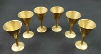 VINTAGE Solid Brass Small Cordial/Shot Glasses Hand Made & Etched INDIA Set of 6