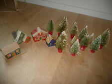 1940's Christmas Lot 4 Colmor Cardboard Houses +11 Decorated Trees wood bases