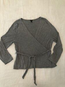 J. Crew grey jersey wrap top, tie waist Double Layer Soft, XL EUC