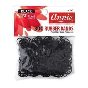 Annie Medium Size Black Rubber Bands - 14mm - Hair Ties - 300ct #3147