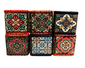Set of 6 Small Patterned Ceramic Pot Cacti Succulent Square Plant Pot Decor 7cm