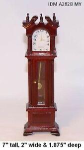 Mahogany Grandfather Clock Dollhouse Miniature 1:12 Scale