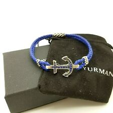 David Yurman Sterling Silver Maritime Blue Sapphire Leather 8'in Anchor Bracelet