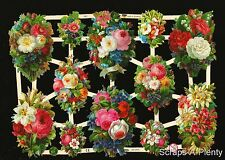 German Victorian Style Embossed Scrap Die Cut - Colorful Roses / Flowers  EF7351