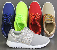 LADIES HALF SEQUIN GLITTER SPARKLY TRAINERS PUMPS CASUAL SHOES GIRLS BLING