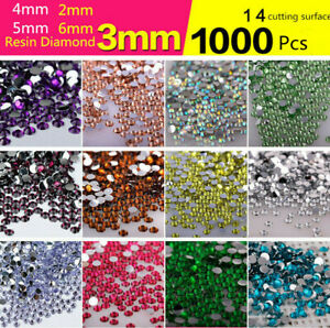 1000 Resin Flat Back Rhinestones Gems Nail Art 2mm 3mm 4mm 5mm 6mm