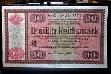 1934 GERMANY 30 REICHSMARK ✪ AU ALMOST UNC ✪ P-209 CONVERSION FUND 71 ◢TRUSTED◣
