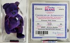 VERY RARE 1st EDITION PVC ~ PRINCESS (Diana) Bear 1997 Ty Beanie Baby ~ MINT!!!!