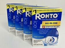 Rohto Ice Eye Drops 0.40 oz (Pack of 4) Relieves Red, Dry, Itchy, Irritated Eyes