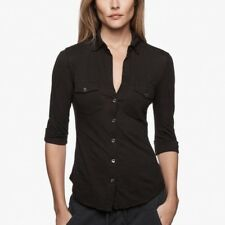 Standard James Perse Button Front Blouse Black Classic Cotton Size 2/ Medium
