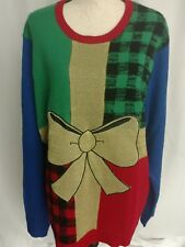 Jolly Sweaters Womens XXL Christmas Present Multi Colored