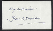 Frew McMillian Autographed 3x5 Index Card Great for Framing Tennis Champion