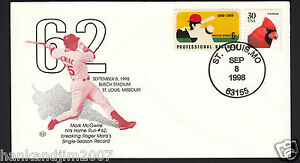 Mark McGwire 62nd HR 1998 USPS Envelope & Commemorative Baseball Cardinal Stamps