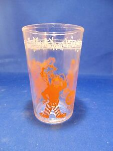 Vintage 1955 Welch's Howdy Doody Collectible Juice Drinking Glass Orange