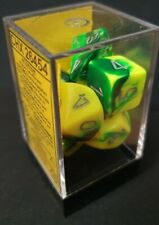 More details for chessex dice: gemini green-yellow / silver dice block (rpg set - 7 dice)