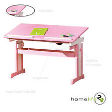 Bureau enfant adolescent inclinable table dessin bois rose  mutli-fonction.