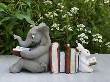 Miniature Dollhouse FAIRY GARDEN Figurine ~ Elephant & Bunny Reading Together