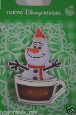 New Tokyo Disney Resort 2015 Christmas Pin Olaf Cup of Hot cocoa Frozen Snowman