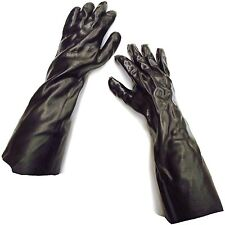 """18"""" GAUNTLET BLACK PVC TRAPLINE GLOVES TRAP TRAPPER TRAPPING BUTCHER SKINNING"""