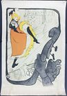 """Orig Very Early Toulouse-Lautrec Jane Avril 20X30"""" 5-Color Poster~Not A Repro"""