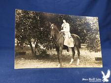 RPPC Young Woman Portrait Astride Horse Riding Skirt Sailor Dress Orange Grove