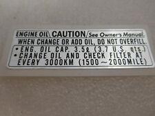 HONDA CB 750 FOUR k3-k6 k7 Autocollant pages couvercle droite plate, oil Caution