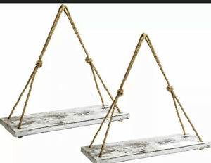 Y&Me Set of 2 Wood Hanging Shelves for Wall,White Rope White