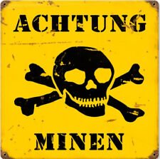 Achtung Minen weathered style enamelled steel wall sign  295mm x 295mm  (pst)