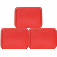 Pyrex 7210-PC 3 Cup Red Rectangle Storage Container Lid 3 Pack for Glass Dish