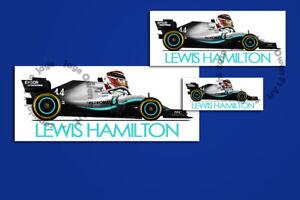 Lewis Hamilton Valtteri Bottas Mercedes 2019 F1 Car.Toon Sticker - Scuderia GP