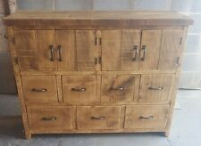 SOLID WOOD RUSTIC CHUNKY KITCHEN UNIT WOODEN STORAGE CUPBOARD CHEST OF DRAWERS