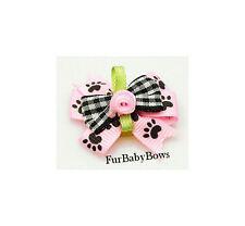 10 Pink Dog Paw Rosebud YORKIE Pet Puppy BOWs  ShihTzu Grooming  Poodle Maltese
