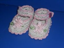 CROCHET HANDMADE BABY GIRL DOLL BOOTIES SHOES ANTIQUE WHITE & PINK MARY JANE
